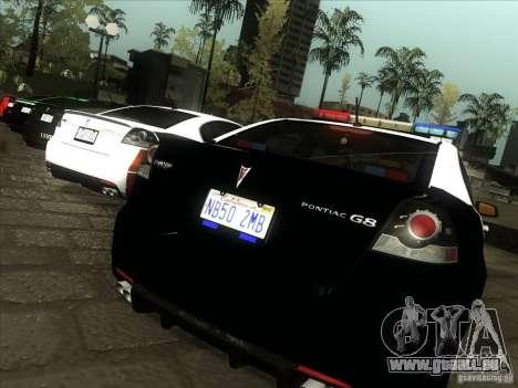 Pontiac G8 Police für GTA San Andreas rechten Ansicht