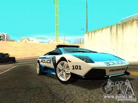 Lamborghini Murcielago LP640 Police V1.0 pour GTA San Andreas sur la vue arrière gauche
