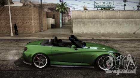 Honda S2000 HellaFlush für GTA San Andreas zurück linke Ansicht