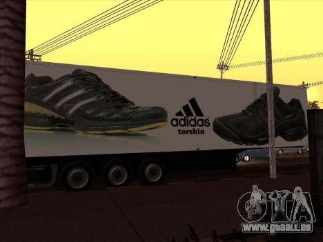 Remorque Adidas pour GTA San Andreas sur la vue arrière gauche