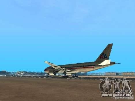 Boeing 777-200 American Airlines pour GTA San Andreas sur la vue arrière gauche