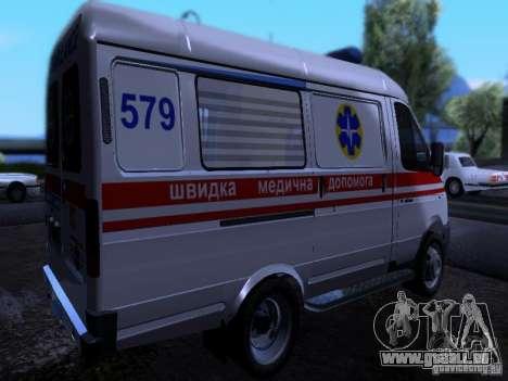 Ambulance Gazelle 2705 pour GTA San Andreas sur la vue arrière gauche