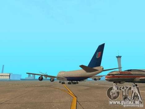 Boeing 747-100 United Airlines für GTA San Andreas zurück linke Ansicht