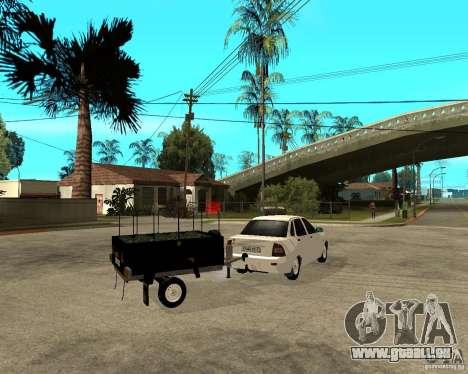 2170 LADA Priora Light tuning et remorque pour GTA San Andreas sur la vue arrière gauche