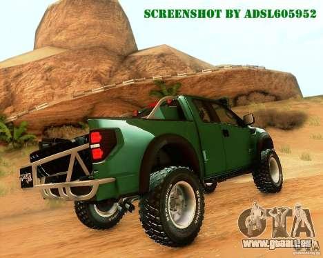 Ford F150 2011 SVT RapTor pour GTA San Andreas vue intérieure