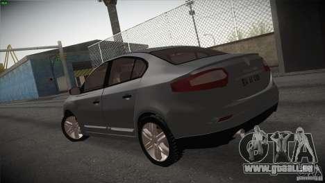Renault Fluence pour GTA San Andreas sur la vue arrière gauche