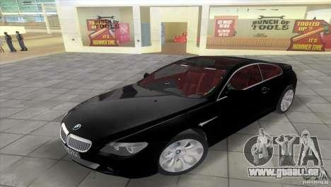 BMW 645Ci pour une vue GTA Vice City de la droite