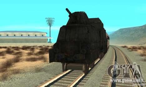 Deutscher Panzerzug der zweiten Welt für GTA San Andreas zurück linke Ansicht