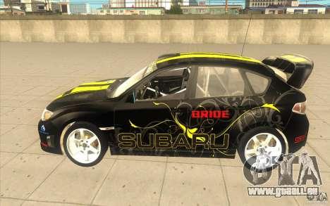 Subaru Impreza WRX STi avec unique nouveau vinyl pour GTA San Andreas vue arrière