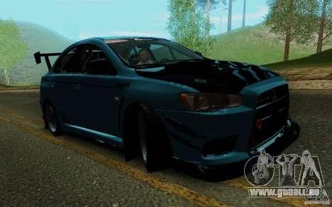 Mitsubishi Lancer Evolution X Tunable pour GTA San Andreas vue de côté