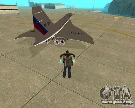 Tupolev TU-144 für GTA San Andreas zurück linke Ansicht