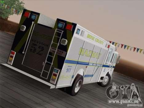 Pierce Fire Rescues. Bone County Hazmat für GTA San Andreas Rückansicht
