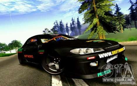 Nissan Silvia S15 Drift Works für GTA San Andreas zurück linke Ansicht
