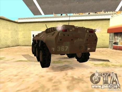 BTR-80 pour GTA San Andreas sur la vue arrière gauche