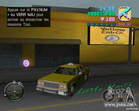 Ford Crown Victoria LTD 1985 Taxi pour GTA Vice City vue latérale