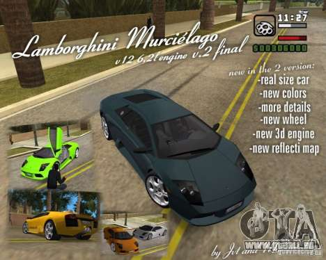 Lamborghini Murcielago V12 6,2L pour GTA Vice City vue arrière