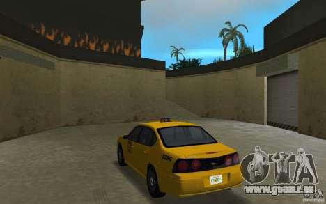 Chevrolet Impala Taxi pour GTA Vice City sur la vue arrière gauche