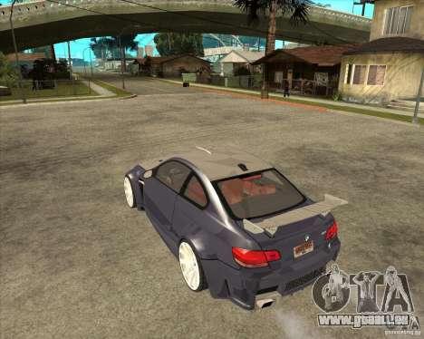 BMW M3 E92 TUNED pour GTA San Andreas laissé vue
