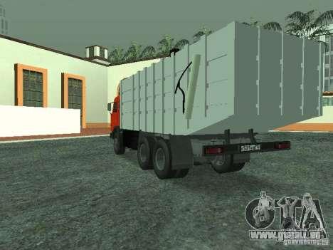 Camion à ordures 53215 KAMAZ pour GTA San Andreas sur la vue arrière gauche