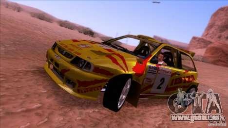 Seat Ibiza Rally pour GTA San Andreas sur la vue arrière gauche
