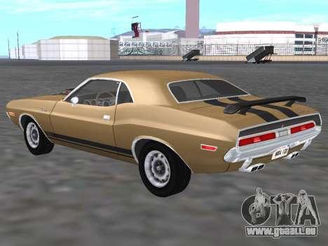 Dodge Challenger 440 Six Pack 1970 für GTA San Andreas zurück linke Ansicht