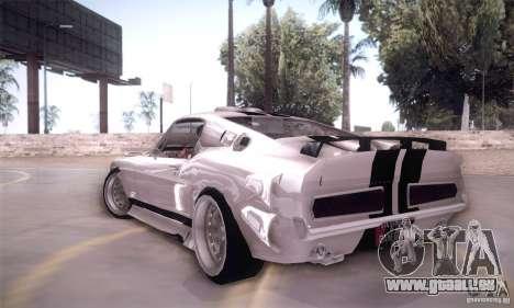 Shelby GT500 für GTA San Andreas zurück linke Ansicht