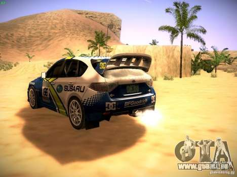 Subaru impreza Tarmac Rally pour GTA San Andreas sur la vue arrière gauche