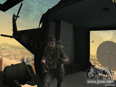 Huey Hubschrauber von Call of Duty black ops für GTA San Andreas Seitenansicht