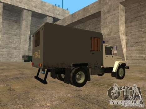 GAZ 3309 Paddy wagon für GTA San Andreas zurück linke Ansicht