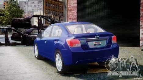 Subaru Impreza Sedan 2012 pour GTA 4 Vue arrière de la gauche
