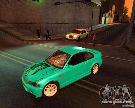 BMW M3 E46 stock pour GTA San Andreas sur la vue arrière gauche