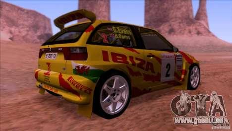 Seat Ibiza Rally für GTA San Andreas Innenansicht