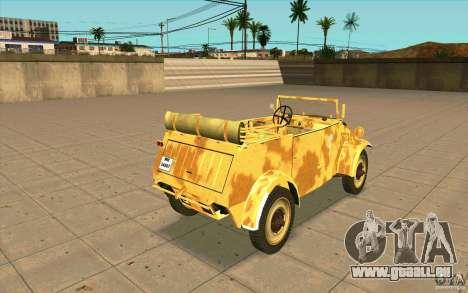 Kuebelwagen v2.0 desert pour GTA San Andreas sur la vue arrière gauche