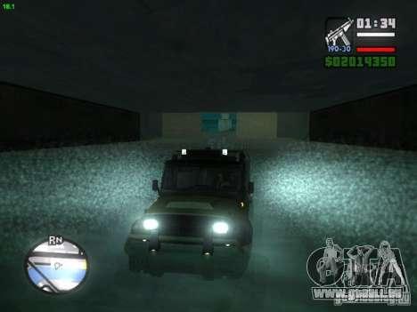 UAZ Hunter pour GTA San Andreas sur la vue arrière gauche