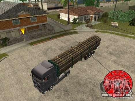 Le transporteur de bois remorque KRONE pour GTA San Andreas sur la vue arrière gauche