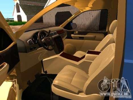 GMC Yukon Denali XL pour GTA San Andreas vue intérieure