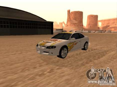 Vauxhall Monaro pour GTA San Andreas vue de dessous