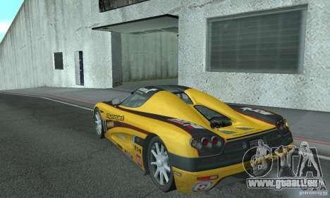 Koenigsegg CCX (v1.0.0) pour GTA San Andreas sur la vue arrière gauche