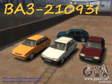 VAZ 21093i le tuning complet pour GTA 4 Vue arrière de la gauche