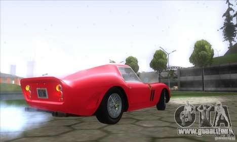 Ferrari 250 GTO 1962 pour GTA San Andreas sur la vue arrière gauche