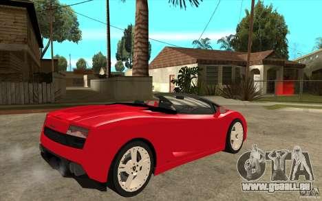 Lamborghini Gallardo LP560 Spider für GTA San Andreas rechten Ansicht