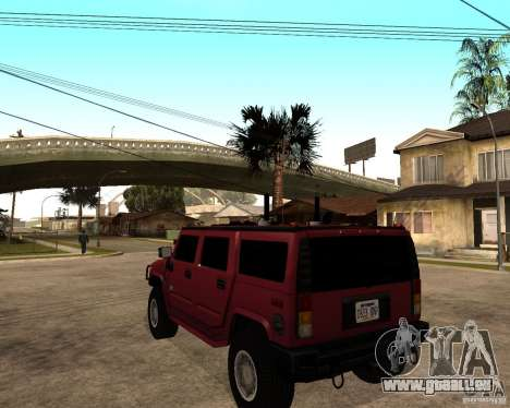 Hummer H2 SE pour GTA San Andreas sur la vue arrière gauche