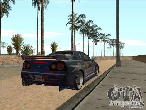 Nissan Skyline R34 VeilSide pour GTA San Andreas vue arrière
