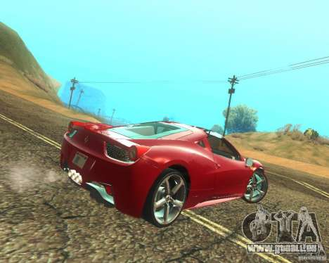 Ferrari 458 Italia Convertible pour GTA San Andreas vue de droite