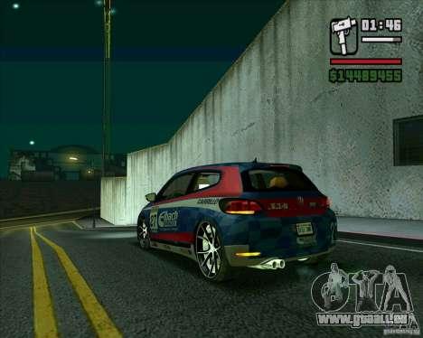 Volkswagen Scirocco 2008 für GTA San Andreas zurück linke Ansicht