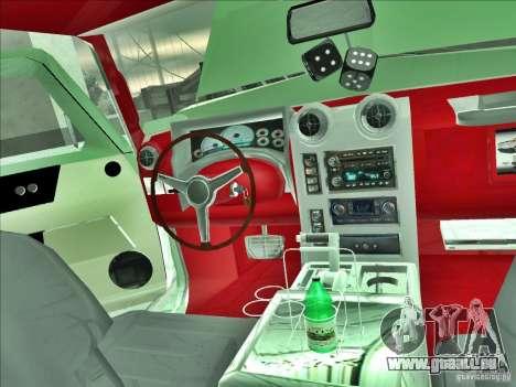 Hummer H2 Phantom pour GTA San Andreas vue intérieure