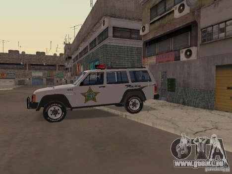 Jeep Cherokee Police 1988 für GTA San Andreas Rückansicht
