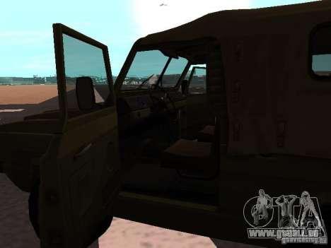 UAZ-3907 Jaguar pour GTA San Andreas sur la vue arrière gauche