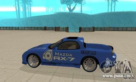 Mazda RX-7 Pickup pour GTA San Andreas sur la vue arrière gauche