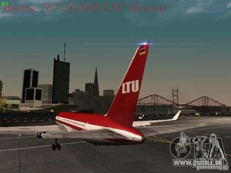 Boeing 767-3G5ER LTU Airways pour GTA San Andreas sur la vue arrière gauche